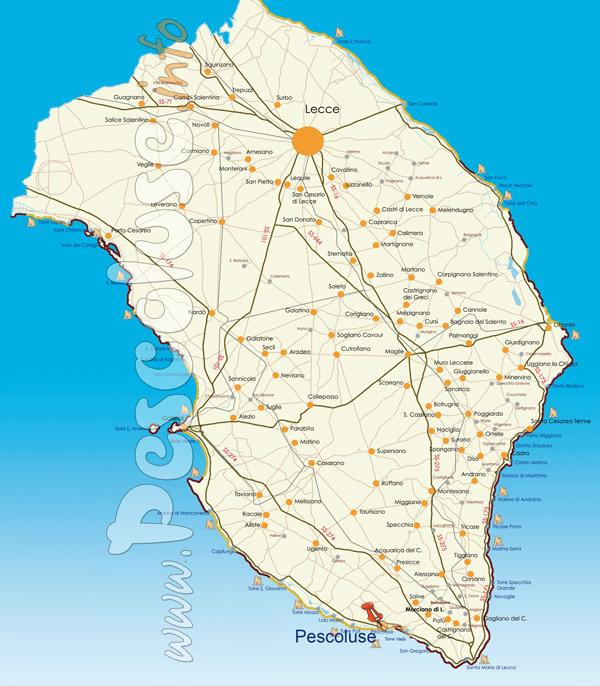 Salve Puglia Cartina.Mappa Di Pescoluse